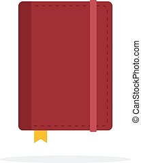 Book in leather cover with bookmark flat isolated