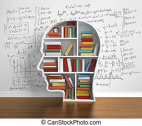 book in library - bookshelf-head with  book in library