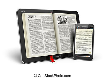 Mobile reading and literature library concept: book with text in tablet computer and touchscreen smartphone isolated on white background Design of these tablet computer and smartphone and used photo are my own and text is fully abstract and has been generated by random text generator