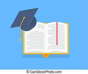 Book in Yellow Cover with Academic Cap Vector