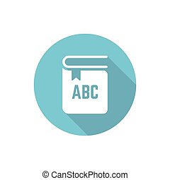 Book isolated vector round flat icon with long shadow