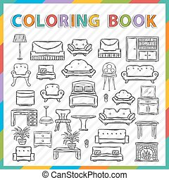 book., jogo, ícone, coloração, vetorial, mão, desenhado
