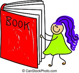 book kid - little girl reading a giant book - toddler art...