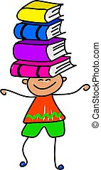 book kid - little boy balancing books on his head - toddler...