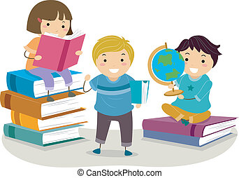 Book Kids - Illustration of Kids Reading Books