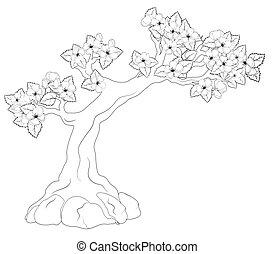 book:, kolorowanie, drzewo, rozkwiecony