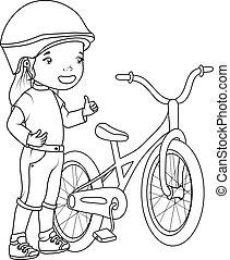 book:, kolorowanie, rower, dziewczyna