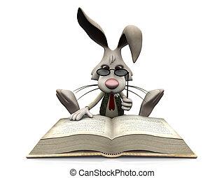 book., konijn, spotprent, groot, lezende