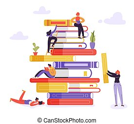 Book Library Educational Concept. Characters Reading Books. Young Readers Man and Woman Learning, Studying and Education. Vector illustration