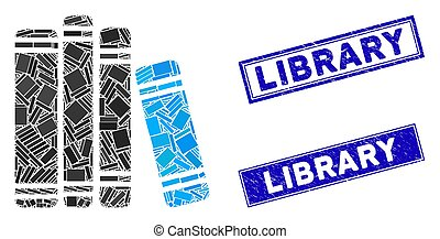 Book Library Mosaic and Grunge Rectangle Library Stamp Seals
