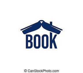 Book like a roof, bookshop and bookstore, logo design. ...