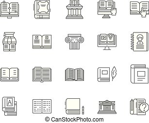 Book line icons, signs, vector set, outline illustration concept