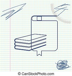 Book line sketch icon isolated on white background. Vector Illustration