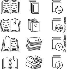 Book line thin vector icons set