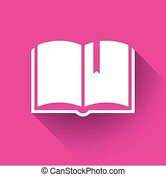 Book logo in a flat design, vector illustration