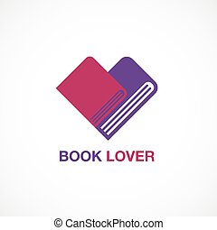 book lover, icon, flat design, logo, vector