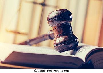 book., marteau, pose, tribunal