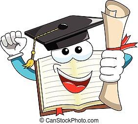 Book Mascot cartoon graduate holding certificate isolated