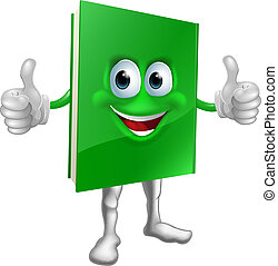 Book mascot education concept - A cartoon green thumbs up...