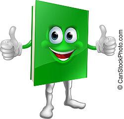 Book mascot education concept - A cartoon green thumbs up...