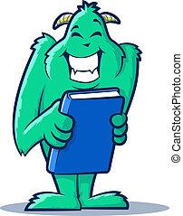 Book Monster - Cute monster creature holding a book