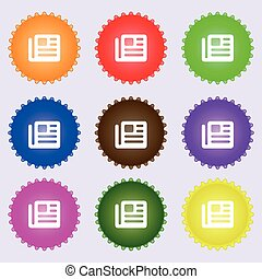 book, newspaper icon sign. A set of nine different colored labels. Vector
