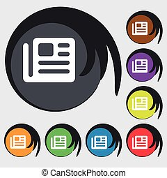 book, newspaper icon sign. Symbol on eight colored buttons. Vector