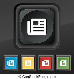 book, newspaper icon symbol. Set of five colorful, stylish buttons on black texture for your design. Vector