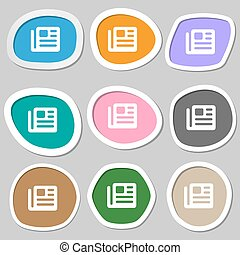book, newspaper icon symbols. Multicolored paper stickers. Vector