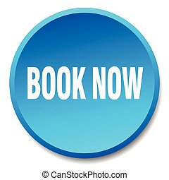 book now blue round flat isolated push button