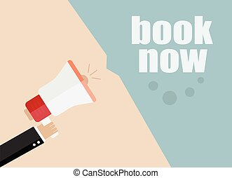 book now. Flat design vector business illustration concept Digital marketing business man holding megaphone for website and promotion banners.