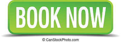 book now green 3d realistic square isolated button