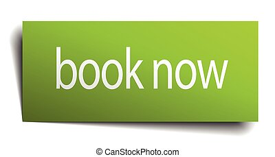 book now green paper sign on white background