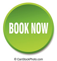 book now green round flat isolated push button