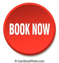 book now red round flat isolated push button