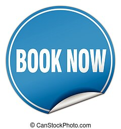 book now round blue sticker isolated on white