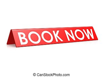 Book now tag in red