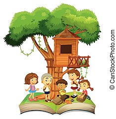 Book of children and treehouse illustration