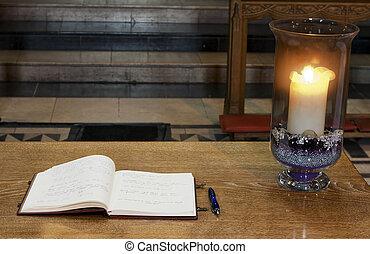Book of condolence inside catherdral - Book of condolence ...