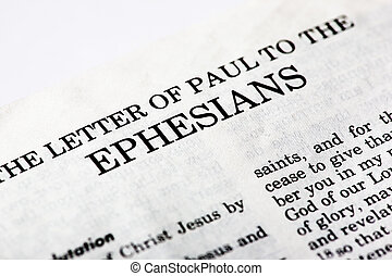 Book of Ephesians - A macro detail of the book of Ephesians ...