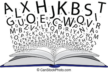 An open book with the letters flying off the pages