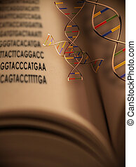 Book of Life - An open book with dna strands and gentic code...