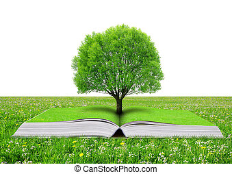 Book of nature with tree