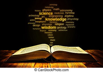 book of science concept with science branch name coming out...