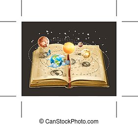 Book on astronomy icon - Book on astronomy, icon