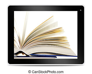 Book on computer tablet screen. Reading online