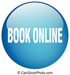 book online blue round gel isolated push button