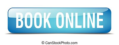 book online blue square 3d realistic isolated web button
