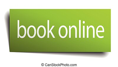 book online green paper sign on white background
