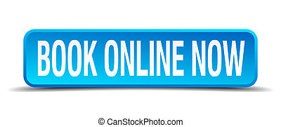 book online now blue 3d realistic square isolated button